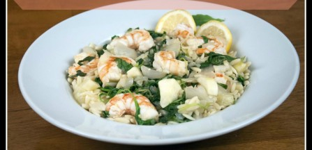 Shrimp with Orzo and Arugula