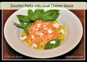 zucchini pasta with goat cheese sauceValerie Hoff