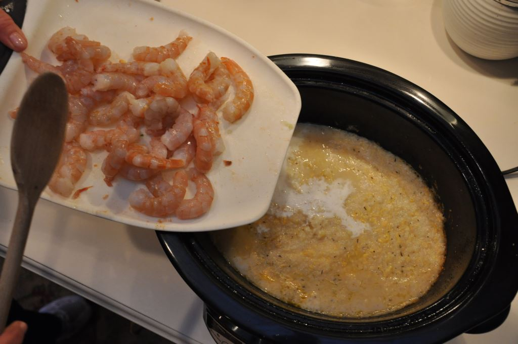 Three Cheese Slow Cooker Shrimp and Grits