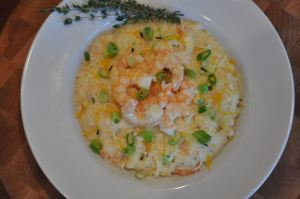 Slow Cooker Three Cheese Shrimp and Grits