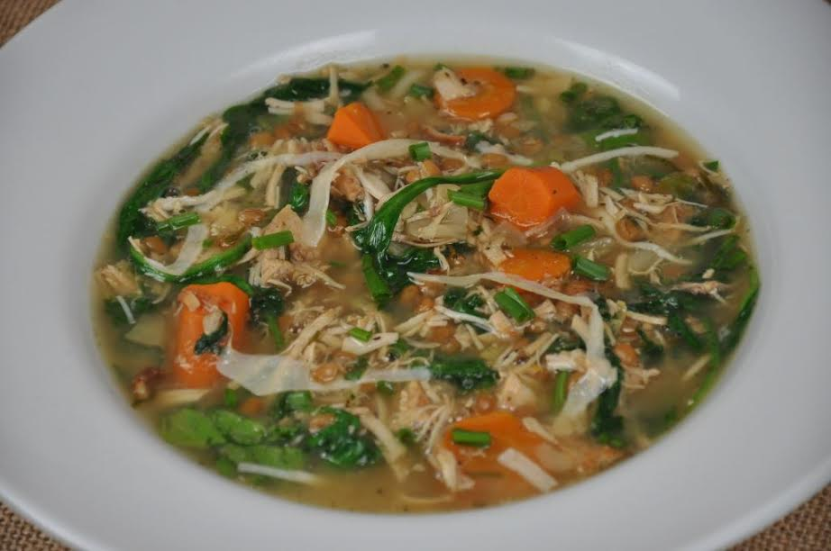 Leftover Turkey Soup with Cabbage and Wheatberries