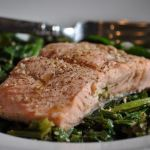 Steamed Salmon with Mustard Greens