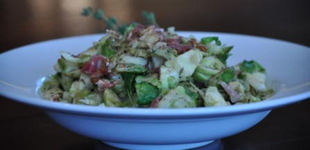 Warm Lemon Dijon Brussels Sprout Slaw